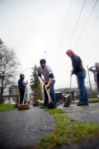 "BREMERTON, Wash. (April 19, 2013) Boatswain's Mate 1st Class Jeremy Cozza, assigned to Naval Base Kitsap (NBK), digs out weeds participating in a base-wide cleanup of NBK to commemorate Earth Day 2013. The Department of the Navy Earth Day theme for 2013 is ""Global Reach – Local Action."" The theme is meant to encourage Sailors to take local action to show the Navy's dedication to protecting the environment. (U.S. Navy photo by Mass Communication Specialist 2nd Class Scott A. McCall)"