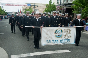 BREMERTON, Wash. (May 18, 2013) Sailors assigned to the Ohio-class fleet ballistic missile submarine USS Kentucky (SSBN 737) march in Bremerton's 65th annual Armed Forces Day Parade. The parade was presented by the Bremerton Chamber of Commerce as part of the city's Armed Forces Festival to pay tribute to all veterans past and present. (U.S. Navy photo by Mass Communication Specialist 3rd Class Chris Brown/Released)