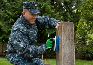 MARYSVILLE, Wash. (May 23, 2013) Chief Cryptologic Technician Jonathon Morgan cleans a gravestone at the Marysville Cemetery in during a CPO 365 community relations project. During the event, Sailors maintained graves of veterans at the cemetery in preparation for Memorial Day. CPO 365, a year-long development and training program for 1st class petty officers, was first introduced in 2010 under former Master Chief Petty Officer of the Navy Rick West. (U.S. Navy photo by Mass Communication Specialist 2nd Class Jeffry A. Willadsen/Released)
