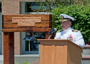 EVERETT, Wash. (July 2, 2013) Capt. Michael J. Coury speaks during a change of command ceremony at Jackson Plaza on Naval Station Everett (NSE). Capt. James J. Duke relieved Coury as commanding officer of NSE during the ceremony. (U.S. Navy photo by Mass Communication Specialist 2nd Class Jeffry Willadsen/Released)