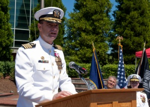 EVERETT, Wash. (July 2, 2013) Capt. James J. Duke speaks at the change of command ceremony held at Jackson Plaza on Naval Station Everett (NSE). Capt. James J. Duke relieved Capt. Michael J. Coury as commanding officer of NSE during the ceremony. (U.S. Navy photo by Mass Communication Specialist 1st Class Kyle Steckler/Released)