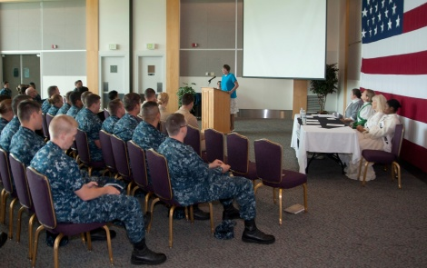 130826-N-MM360-006 EVERETT, Wash. (Aug. 26, 2013) Judith Prince, president of the Everett branch of the American Association of University Women, speaks to Sailors and DoD civilians during the Women's Equality Day celebration on Naval Station Everett (NSE). The celebration was meant to commemorate the great strides that the country and Navy has taken in women's equality. Today, 54,537 women serve in the Navy, comprising 17 percent of the force, and nearly 50,000 women serve across the Navy in a wide range of specialties as civilian employees. (U.S. Navy photo by Mass Communication Specialist 2nd Class Jeffry A. Willadsen/Released)