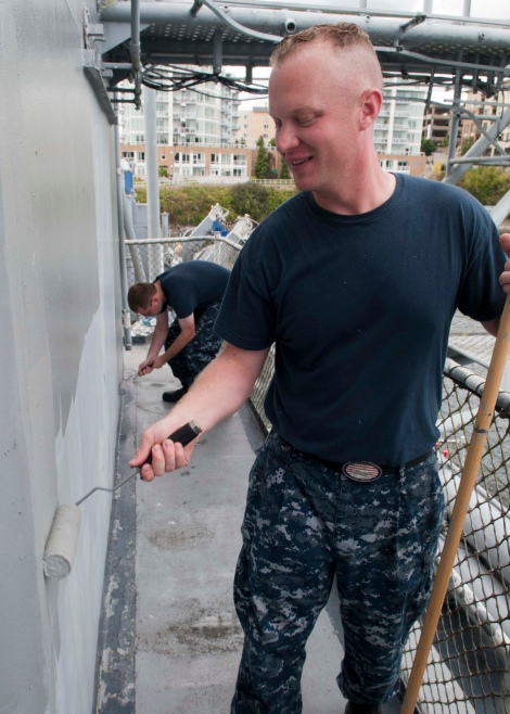 BREMERTON, Wash. (Aug. 28, 2013) Chief (select) Culinary Specialist Mike Farmer paints the museum ship USS Turner Joy during a community relations project. More than 100 chief petty officer (CPO) selects, have been maintaining the ship's condition since Sunday as part of a community relations project. The CPO selects, Sailors undergoing Phase II of CPO 365, boarded USS Turner Joy Aug. 25 to participate in the Pacific Northwest 2nd Annual CPO Legacy Academy to spend a week living, working, and training aboard the Vietnam War-era ship along with a group of CPO mentors who will provide leadership and lessons on naval history as well as the heritage of the CPO community. (U.S. Navy photo by Mass Communication Specialist 2nd Class Justin A. Johndro/Released)