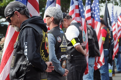 OAK HARBOR, Wash. (Sept. 19, 2013) Members of the Patriot Guard Riders stand at attention during the National POW/MIA Recognition Rembrance at the POW/MIA Sentinel Memorial Fountain on Naval Air Station Whidbey Island's Seaplane Base. The service honored all veterans whose remains have been brought home this past year and remembered all those who were either Prisoners of War or Missing in Action. (U.S. Navy photo by Mass Communication Specialist 1st Class Joan E. Jennings/Released)