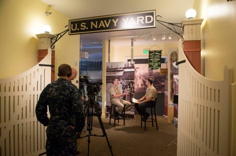 "130925-N-WL435-305   BREMERTON, Wash. (Sept. 25, 2013) Chief of Naval Operations (CNO) Adm. Jonathan Greenert is interviewed by Mass Communication Specialist 2nd Class Joshua Keim at the Puget Sound Navy Museum about sexual assaults in the Navy. The informal interview was the second installment of an ongoing series known as ""A Conversation with A Shipmate"" where Greenert talks candidly about specific topics of interest in the fleet. (U.S. Navy photo by Chief Mass Communication Specialist Peter D. Lawlor/Released)"