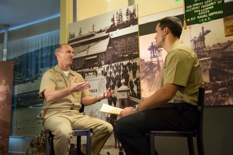 "130925-N-WL435-319   BREMERTON, Wash. (Sept. 25, 2013) Chief of Naval Operations (CNO) Adm. Jonathan Greenert is interviewed by Mass Communication Specialist 2nd Class Joshua Keim at the Puget Sound Navy Museum about sexual assaults in the Navy. The informal interview was the second installment of an ongoing series known as ""A Conversation with A Shipmate"" where Greenert talks candidly about specific topics of interest in the fleet. (U.S. Navy photo by Chief Mass Communication Specialist Peter D. Lawlor/Released)"