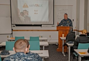 "140129-N-MM360-002 EVERETT, Wash. (Jan. 29, 2013) – Lt. Cmdr. Carl Stamper, the Naval Station Everett (NSE) Command Chaplain, teaches a ""Safe Talk"" suicide intervention course on NSE. The course was meant to teach Sailors how to recognize sufferers of suicidal thoughts, talk to them, and get them the help they need. (U.S. Navy photo by Mass Communication Specialist 2nd Class Jeffry A. Willadsen/Released)"