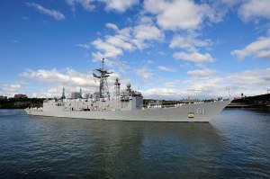 PORTLAND, Ore., June 7, 2012 - Guided missile frigate USS Ingraham (FFG 61) arrives at the Tom McCall Waterfront Park in Portland, Ore. to kick off Portland Rose Festival Fleet Week 2012.  Navy warships have been coming to the City of Roses since USS Charleston's visit in 1907. Portland's Rose Festival is an opportunity for the Navy to raise awareness about the purpose of naval forces and sustain the strong relationship with the community.  U.S. Third Fleet leads naval forces in the Eastern Pacific from the West Coast of North America to the international date line and provides realistic, relevant training necessary for an effective global Navy.  U.S. Navy photo by  Mass Communication Specialist 2nd Class Phillip Pavlovich/RELEASED.