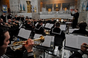 OLYMPIA, Wash. (Mar. 10, 2014) Navy Band Northwest performs at the 10th annual Navy Appreciation Day in Olympia, Wash. Navy Region Northwest leadership met with state legislative officials to discuss the relationship among between the state and Sailors stationed in the Pacific Northwest. (U.S. Navy photo by Mass Communication Specialist 2nd Class Cory Asato/Released)