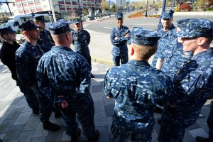 140411-N-LP168-087 BREMERTON, Wash. (April 11, 2014) Adm. Cecil Haney, Commander of U.S. Strategic Command (USSTRATCOM), center, speaks to chiefs and officers from USS Nebraska (SSBN 739) following the crew receiving the Omaha Trophy. The Omaha Trophy, sponsored by USSTRATCOM and the USSTRATCOM Consultation Committee, is awarded annually to military units demonstrating the highest performance standards in USSTRATCOM's mission areas. (U.S. Navy photo by Chief Mass Communication Specialist Ahron Arendes/Released)
