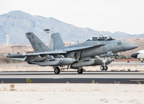 An EA-18G assigned to VAQ-135 launches on a day training mission at Nellis Air Force Base, Nev., during Red Flag 14-1.