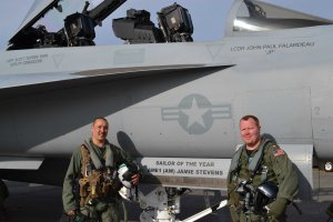 VAQ-135 Sailor of the Year Aviation Structural Mechanic 1st Class Jamie Stevens (left),  gets to fly with Lt. Cmdr. Matthew Maher (right) in a squadron EA-18G Growler.