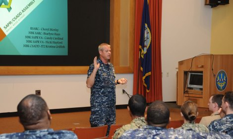 SILVERDALE, Wash. (April 30, 2014) Navy Region Northwest Command Master Chief Brian Schell gives opening remarks during a NRNW Coalition of Sailors Against Destructive Decisions at Naval Base Kitsap's Trident Training Facility. The assembly was held to help network and help coordinate efforts of every Navy program, organization and CSADD chapter in the local area eager to cooperate with each other to expand the reach and efficiency of their collective endeavors. (U.S. Navy photo by Mass Communication Specialist 2nd Class Cory Asato/Released)