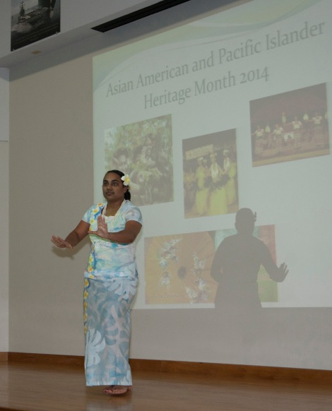140530-N-MM360-024 EVERETT, Wash. (May 30, 2014) Culinary Specialist 2nd Class Christine Pritchett, from Suva, Fiji, performs a traditional Samoan dance during the Asian American and Pacific Islander Heritage Month celebration in the William E. Moore auditorium on Naval Station Everett. The purpose of the ceremony was to celebrate the rich heritage and history of Asian and Pacific Island cultures and acknowledge their great contributions to American history. (U.S. Navy photo by Mass Communication Specialist 2nd Class Jeffry A. Willadsen/Released)