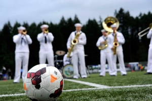 140613-N-OO032-053 BREMERTON, Wash. (June 13, 2014) Navy Band Northwest Sailors perform during  halftime of the Kitsap Pumas's Military Appreciation Day soccer game. This is the band's inaugural performance at the event; however, the Pumas have hosted the event since Kitsap soccer club formed in 2009. (U.S. Navy photo by Mass Communication Specialist 2nd Class Cory Asato/Released)