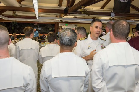 SILVERDALE, Wash. (June 30, 2014) – Capt. Thomas Zwolfer, commanding officer, Naval Base Kitsap, congratulates Sailors assigned to Naval Base Kitsap Galley on their accomplishment of winning the Captain Edward F. Ney Memorial Award for the second consecutive year. The Ney Award, was established in 1958 by the Secretary of the Navy and the International Food Executive Association to improve the quality of food service in the Navy. (U.S. Navy photo by Mass Communication Specialist 3rd Class William Blees/released)