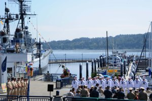 140822-N-OO032-002 BREMERTON (Aug. 22, 2014) Navy Region Northwest Chief Selectees graduate the USS Turner Joy Chief Petty Officer Legacy Academy at the Bremerton, Wash. waterfront. The academy entails living aboard the Vietnam-era destroyer for six days while participating in community relation projects, ship preservation, leadership training, reenactments of Vietnam-era operations and heritage projects relating to the U.S. Navy and its Chief's Mess. (U.S. Navy photo by Mass Communication Specialist 2nd Class Cory Asato/Released)