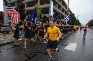 140830-N-OO032-080 BREMERTON, Wash. (Aug. 30, 2014) More than 200 Navy Region Northwest Chief Petty Officers Association members and Chief selects run to cadence during the 25th Annual Blackberry Festival's Chief Select 5k. The NRNW CPOA has been coordinating the run to kickoff the festival on the Bremerton waterfront since the festival's inception 25 years ago. (U.S. Navy photo by Mass Communication Specialist 2nd Class Cory Asato/Released)