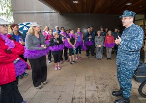 141015-N-MN975-004 SILVERDALE, Wash. (October 15, 2014) Rear Adm. Jeff Ruth, Commander, Navy Region Northwest, speaks before the Domestic Abuse Awareness 5K run at Naval Base Kitsap - Bangor. October is Domestic Abuse Awareness Month and Navy Region Northwest held the event to spread awareness around the base community. (U.S. Navy photo by Mass Communication Specialist 2nd Class Justin A. Johndro/RELEASED)