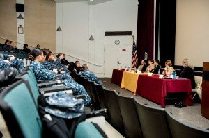 141030-N-JY507-003 Bremerton, Wash. (Oct. 30,2014) Senior leadership from various commands in Navy Region Northwest respond to questions by audience members at the 5th annual Women's Symposium Mentorship Program on Naval Base Kitsap. The symposium is designed to provide mentorship to all service members stationed in the Northwest by providing them with support and guidance. (U.S. Navy photo by Mass Communication Specialist 3rd Class Seth Coulter/ Released)