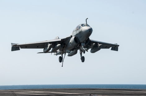 140923-N-MW819-066  ARABIAN GULF (Sept. 23, 2014) An EA-6B Prowler attached to the Garudas of Electronic Attack Squadron (VAQ) 134 lands aboard the aircraft carrier USS George H.W. Bush (CVN 77) after conducting strike missions against ISIL targets. George H.W. Bush is supporting maritime security operations and theater security cooperation efforts in the U.S. 5th Fleet area of responsibility. (U.S. Navy photo by Mass Communication Specialist 3rd Class Brian Stephens/Released)