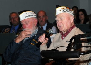 141207–N-ZY850-038 KEYPORT, Wash. (Dec. 7, 2014) Roy Carter, a Pearl Harbor survivor who was on board the USS West Oklahoma, tells his story from Dec. 7, 1941 at the 19th annual Pearl Harbor Remembrance Ceremony at the Naval Undersea Museum Jack Murdock Auditorium. The ceremony honored the 2,403 Americans who died during the Japanese attack on Pearl Harbor on Dec. 7, 1941. (U.S. Navy photo by Mass Communication Specialist 2nd Class Jamie Hawkins/Released)