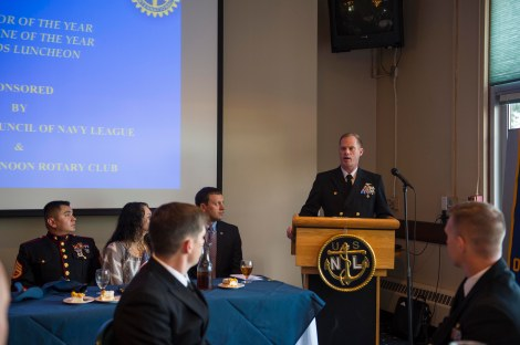 141212-N-WQ574-039 OAK HARBOR, Wash. (Dec. 12, 2014) Capt. Mike Nortier, commanding officer of Naval Air Station Whidbey Island (NASWI), speaks during the 41st Annual Oak Harbor Navy League and Rotary Club Awards Luncheon at the Officer's Club, Dec. 12. Winners, finalists and nominees of the 2014 NASWI Sailors and Marine of the Year were honored and thanked for their service by members of the military and community at the annual dinner. (U.S. Navy photo by Mass Communication Specialist 3rd Class Caleb Cooper/Released)