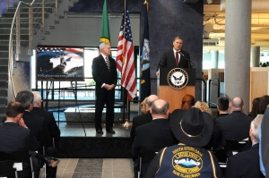 130207-N-LP168-001 SEATTLE (Feb. 7, 2013) Washington Gov.  Jay Inslee delivers his remarks celebrating the naming of the Navy's next Virginia-class submarine, USS Washington (SSN 787), at the Port of Seattle Headquarters Building at Pier 69. Inslee joined Secretary of the Navy Ray Mabus in thanking the people of Seattle for their support and contributions to the Navy and discussing the special bond that exists between a state and its namesake vessel.  (U.S. Navy photo by Chief Mass Communication Specialist Ahron Arendes).