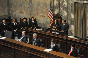 """150211-N-EC099-103 OLYMPIA, Wash. (Feb. 11, 2015) – Lt. Governor Brad Owen, President of the Washington State Senate slams the gavel to pass the """"Navy Day"""" motion in the Washington State House of Representatives during Navy Day. Washington State Senators discuss the importance of celebrating the U.S. Navy and their achievements. (US Navy photo by Mass Communication Specialist 3rd Class Charles D. Gaddis IV/Released)"""