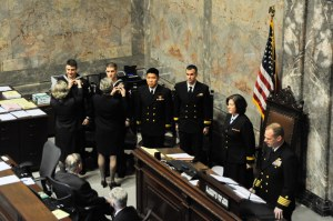 150211-N-EC099-133 OLYMPIA, Wash. (Feb. 11, 2015) – Senators pin Sailors assigned to Whidbey Island's Search and Rescue team in the Washington State Senate House of Representatives during Navy Day. Washington State Senators discuss the importance of celebrating the U.S. Navy and their achievements. (US Navy photo by Mass Communication Specialist 3rd Class Charles D. Gaddis IV/Released)
