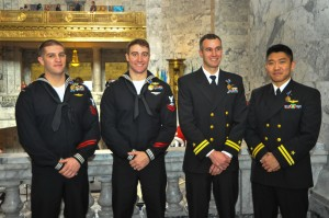 150211-N-EC099-177 OLYMPIA, Wash. (Feb. 11, 2015) – Hospital Corpsman 1st Class Wayne Papalski, Naval Aircrewman (Helicopter) 2nd Class Cory Hedges, Lt. Cole Heller and Lt. Jared Wada pose for a group photo in the Washington State Senate House of Representatives during Navy Day. Washington State Senators discuss the importance of celebrating the U.S. Navy and their achievements. (US Navy photo by Mass Communication Specialist 3rd Class Charles D. Gaddis IV/Released)