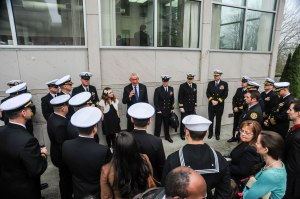 150211-N-KD696-002 OLYMPIA, Wash. (Feb. 11, 2015) Sailors and Department of Defense personnel from Navy Region Northwest are briefed by Former Washington Secretary of State Ralph Munro at the 11th annual Navy Appreciation Day in Olympia, Wash. Navy Appreciation Day is an annual event convened in the Senate Chamber and in the House Chamber located in the Legislative Building in Olympia to honor the U.S. Navy and its personnel in the Northwest Region. (U.S. Navy photo by Mass Communication Specialist 2nd Class Jose L. Hernandez/Released)