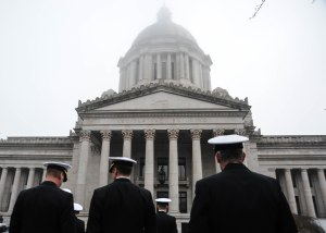 150211-N-KD696-013 OLYMPIA, Wash. (Feb. 11, 2015) Sailors and Department of Defense personnel from Navy Region Northwest attend the 11th annual Navy Appreciation Day at the capitol in Olympia, Wash. Navy Appreciation Day is an annual event convened in the Senate Chamber and in the House Chamber located in the Legislative Building in Olympia to honor the U.S. Navy and its personnel in the Northwest Region. (U.S. Navy photo by Mass Communication Specialist 2nd Class Jose L. Hernandez/Released)