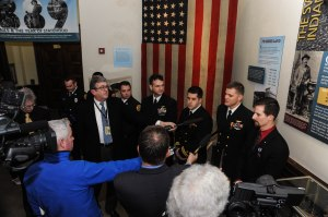 150211-N-KD696-172 OLYMPIA, Wash. (Feb. 11, 2015) Chief Naval Aircrewman Richard L. Andraschko fields questions from the media at the 11th annual Navy Appreciation Day at the capitol in Olympia, Wash., in regards to his Air crew's participation in the search and rescue efforts during the Oso Mudslide. Navy Appreciation Day is an annual event convened in the Senate Chamber and in the House Chamber located in the Legislative Building in Olympia to honor the U.S. Navy and its personnel in the Northwest Region. (U.S. Navy photo by Mass Communication Specialist 2nd Class Jose L. Hernandez/Released)