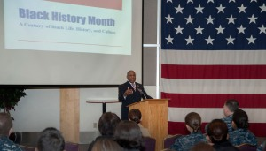150220-N-MM360-061 EVERETT, Wash. (Feb. 20, 2015) – EVERETT, Wash. (Feb. 20, 2015) – Raymond Miller, the former vice president of the Snohomish County branch chapter of the National Association for the Advancement of Colored People (NAACP) and Air Force veteran, speaks during the National African-American History Month celebration in the Grand Vista Ballroom on Naval Station Everett (NSE). The ceremony, meant to recognize the impact African-Americans have had on both American and naval history, included a guest speaker, multimedia presentations, a poetry reading and a static display on black history. (U.S. Navy photo by Mass Communication Specialist 1st Class Jeffry A. Willadsen/Released)