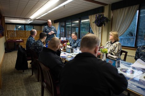 150223-N-JY507-001 SILVERDALE, Wash. (Feb. 23, 2015) – Rear Adm. Jeffrey Ruth, Commander Navy Region Northwest, from Key West, Fla., speaks to leaders of the West Sound area during the Navy-Marine Corps Relief Society Kickoff Breakfast. The Navy-Marine Corps Relief Society provides interest-free loans and grants, budget and financial counseling, education scholarships and many other important programs, which benefit Sailors and Marines.  (US Navy photo by Mass Communication Specialist 3rd Class Seth Coulter/Released)