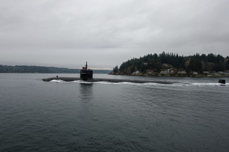 150225-N-JY507-123 BREMERTON, Wash. (Feb. 25, 2015) – The Los Angeles-class fast-attack submarine USS Bremerton (SSN 698) makes her way to Pier Delta at Naval Base Kitsap-Bremerton prior to mooring. USS Bremerton is making a namesake visit to Bremerton, Wash., for the first time since 2012. (US Navy photo by Mass Communication Specialist 3rd Class Seth Coulter/Released)