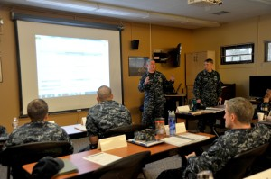 150313-N-EC099-018 SILVERDALE, Wash. (Mar. 13, 2015) – Chief Navy Counselor Dean Miller, assigned to USS Nimitz (CVN 68), discusses budgeting to a command financial specialist class. Fleet and Family Support Center hosts command financial specialist training classes to improve the financial responsibility of service members. (US Navy photo by Mass Communication Specialist 3rd Class Charles D. Gaddis IV/Released)