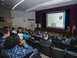 150325-N-KD696-007 BREMERTON, Wash. (March. 25, 2015) - Sailors assigned to Naval Base Kitsap (NBK) Bremerton and  various commands throughout Navy Region Northwest observe Women's History Month during a presentation at the Navy Operational Support Center (NOSC) auditorium. This year's National Women's History Month theme was Weaving the Stories of Women's Lives, which highlighted the achievements of distinguished women throughout our nation's history. (U.S. Navy photo by Mass Communication Specialist 2nd Class Jose L. Hernandez/Released)