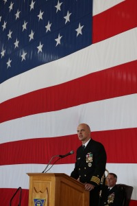 150402-N-DC740-050 OAK HARBOR, Wash. (April 2, 2015) Capt. Brett Mietus speaks after assuming command of Patrol and Reconnaissance Wing (CPRW) 10, during a change of command ceremony at Naval Air Station Whidbey Island. Mietus relieved Capt. Vincent W. Segars during the CPRW-10 change of command ceremony.  (U.S. Navy photo by Mass Communication Specialist 2nd Class John Hetherington/Released)