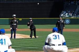 150419-N-OO032-137 SEATTLE (April 19, 2015) -- Navy Counselor 1st Class Sara Dozier, Submarine Pacific Sailor of the Year from Las Vegas, throws a ceremonial first pitch during the Seattle Mariners' 14th Annual Salute to Armed Forces at Safeco Field. Dozier was one of five service members representing each of the armed services to throw a ceremonial first pitch. (U.S. Navy photo by Mass Communication Specialist 2nd Class Cory Asato/Released)