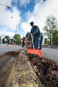 150422-N-JY507-058 BREMERTON, Wash. (April 22, 2015) – Operations Specialist 2nd Class Ryan Freeman, attached to Naval Base Kitsap-Bremerton Operations, from Lewisville, Texas, participates in a base-wide cleanup in commemoration of Earth Day. Earth Day is celebrated annually April 22 to promote community engagement and practices of environmental stewardship around the world.  (U.S. Navy photo by Mass Communication Specialist 3rd Class Seth Coulter/ Released)