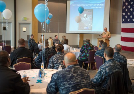 150428-N-MN975-009 EVERETT, Wash. (April 28, 2015) Rear Adm. Jeff Ruth, Commander Navy Region Northwest, speaks to sexual assault victim advocates during a volunteer appreciation brunch at Naval Station Everett. April is a dedicated month toward the prevention and awareness of sexual assault. (U.S. Navy photo by Mass Communication Specialist 2nd Class Justin A. Johndro/RELEASED)