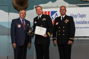 150515-N-EC099-043 BREMERTON, Wash. (May 15, 2015) Lt. Jeffrey Joyce, assigned to Naval Undersea Warfare Center Keyport, receives a certificate of merit from Military Officers Association of America Kitsap Chapter during their annual luncheon. The MOAA has been supporting the military for over 39 years.(U.S. Navy photo by Mass Communication Specialist 3rd Class Charles D. Gaddis IV/Released)