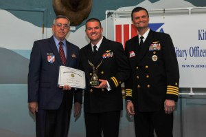 150515-N-EC099-049 BREMERTON, Wash. (May 15, 2015) Lt. Matthew Lovick, assigned to the aircraft carrier USS John C. Stennis (CVN 74), receives a certificate of merit from Military Officers Association of America Kitsap Chapter during their annual luncheon. The MOAA has been supporting the military for over 39 years.(U.S. Navy photo by Mass Communication Specialist 3rd Class Charles D. Gaddis IV/Released)