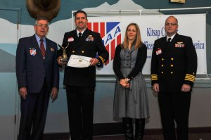150515-N-EC099-059 BREMERTON, Wash. (May 15, 2015) Lt. David Wheeler, assigned to Naval Hospital Bremerton, receives a certificate of merit from Military Officers Association of America Kitsap Chapter during their annual luncheon. The MOAA has been supporting the military for over 39 years.(U.S. Navy photo by Mass Communication Specialist 3rd Class Charles D. Gaddis IV/Released)