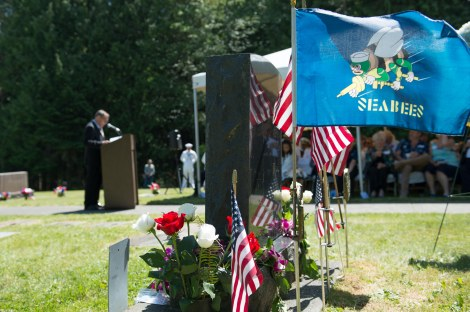150610-N-JY507-046 GARDINER, Wash. (June 10, 2015) Frank Peterlin, Seabee Officer-In-Charge of Seabee Team 1140 at Don Xoai, from Falls Church, Virginia, speaks at a ceremony commemorating the 50th anniversary of Medal of Honor recipient Marvin Shields actions in Vietnam. Sailors, members of the team and guests gathered at Gardiner Cemetery to remember his actions and heroism. (U.S. Navy Photo by Mass Communication Specialist 3rd Class Seth Coulter/Released)