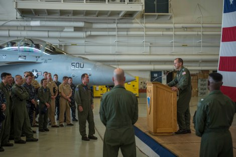 150610-N-WQ574-183 OAK HARBOR, Wash. (June 10, 2015) Vice Adm. Mike Shoemaker, Commander Naval Air Forces, addresses Electronic Attack Squadron 134 and 139 after an award presentation at Naval Air Station Whidbey Island (NASWI). Shoemaker visited NASWI to present awards and visit squadrons as part of the Boots on the Ground program. (U.S. Navy photo by Mass Communication Specialist 3rd Class Caleb Cooper/Released)