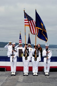 150611-N-OO032-092 PORT HADLOCK, Wash. (June 11, 2015) -- The official party salutes the colors, presented by Naval Hospital Bremerton's color guard, during a change-of-command ceremony for Cmdr. Michael Yesunas, Naval Magazine Indian Island commanding officer. Beginning in August 2015, Yesunas will pursue a Master's Degree at the Dwight D. Eisenhower School for National Security and Resource Strategy at Fort Lesley J. McNair on the National Defense University campus. (U.S. Navy photo by Mass Communication Specialist 2nd Class Cory Asato/Released)