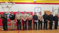 Nine Navy Information Operations Command (NIOC) Whidbey Island Sailors and a Naval Air Station (NAS) Whidbey Island Sailor attended the Oak Harbor Middle School Veterans Day Assembly on November 10, 2015. The Sailors were honored to be invited to attend the Veterans Day assembly which included a presentation by the Oak Harbor High School Junior ROTC, a song by Oak Harbor Middle School Band, and a video slideshow honoring the American Veterans that fought for our freedom.